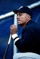 Moises Alou of the Houston Astros participates in a Major League Baseball game at Dodger Stadium during the 1998 season in Los Angeles, California. (Larry Goren/Four Seam Images)