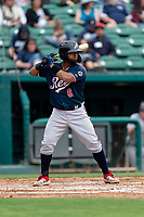 Reno Aces catcher Alberto Rosario (6) batting during a game against the Fresno Grizzlies at Chukchansi Park on April 8, 2019 in Fresno, California. Fresno defeated Reno 7-6. (Zachary Lucy/Four Seam Images)