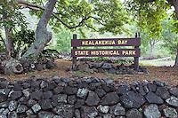 Kealakekua Bay State Historical Park Sign, Big Island, Kona, Big Island.