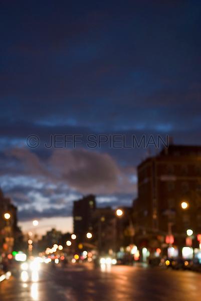 Mysterious Urban Street Scene....First Avenue, East Village, New York City,  Street Scene at Dusk