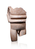 Ancient Greek Cycladic statue torso fragment: Canonical spedos variety , Early Cycladic period II, Syros phase 2800-2300 BC. Cycladic Museum of Art, Athens. Female figurine statuette : Cycladic Canonical type, Kapsala variety. Against white.<br /> <br /> Arrtibuted to 'Goulandris Master'.  A very rare unique example of a canonical Spedos variety Cycladic statue of a male. The genetals are carved in the round in a naturalistic manner and unusually the forearms dont touch as in the female figures. This is a totaly unique example of a Cycladic canonical male figure of monumental dimensions.