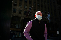 NEW YORK, NY - NOVEMBER 18:  A man wears a face cover on November 18, 2020 in New York. The drug maker company Pfizer inform that its Covid-19 vaccine is  95 percent effective with no serious side effects while Coronavirus cases skyrocket around the globe. (Photo by Eduardo MunozAlvarez/VIEWpress)
