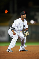 Scottsdale Scorpions Miguel Andujar (18), of the New York Yankees organization, during a game against the Salt River Rafters on October 20, 2016 at Scottsdale Stadium in Scottsdale, Arizona.  Scottsdale defeated Salt River 4-1.  (Mike Janes/Four Seam Images)