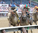 Firenze Fire (no. 3), ridden by Irad Ortiz Jr. and trained by Jason Servis, wins the 103rd running of the grade 3 Sanford Stakes for two year olds on July 22, 2017 at Saratoga Race Course in Saratoga Springs, New York. (Bob Mayberger/Eclipse Sportswire)