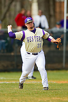 Western Carolina Catamounts third baseman Tyler White (20) makes a throw to first base against the Davidson Wildcats at Wilson Field on March 10, 2013 in Davidson, North Carolina.  The Catamounts defeated the Wildcats 5-2.  (Brian Westerholt/Four Seam Images)