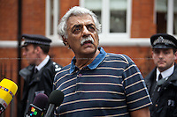 Tariq Ali (British Pakistani military historian, novelist, journalist, filmmaker, public intellectual, political campaigner, activist and commentator).<br /> <br /> London, 19/08/2012. Today, Julian Assange made his first speech after two months (19th June 2012) he has been living as a refugee in the Ecuadorian Embassy in London. On Thursday he was granted Diplomatic Asylum by the President of Ecuador, Rafael Correa. Previously, Baltasar Garzón (former Spanish Judge, now head of Assange legal team), Tariq Ali, Craig Murrey and others had made speeches in support and solidarity with the Australian Journalist founder of Wikileaks.