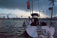 - sailing boat in Livorno harbour....- barca a vela nel porto di Livorno