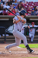 Kane County Cougars catcher Francis Christy (8) swings at a pitch during game one of a Midwest League doubleheader against the Wisconsin Timber Rattlers on June 23, 2017 at Fox Cities Stadium in Appleton, Wisconsin.  Kane County defeated Wisconsin 4-3. (Brad Krause/Four Seam Images)