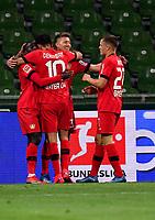 18th May 2020, WESERSTADION, Bremen, Germany; Bundesliga football, Werder Bremen versus Bayer Leverkusen;  Leverkusens Mitchell Weiser celebrates his goal for 1:3 with team mates Moussa Diaby, Kerem Demirbay and Florian Wirtz.