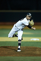 Wake Forest Demon Deacons starting pitcher Griffin Roberts (43) follows through on his delivery against the Florida State Seminoles at David F. Couch Ballpark on March 9, 2018 in  Winston-Salem, North Carolina.  The Seminoles defeated the Demon Deacons 7-3.  (Brian Westerholt/Four Seam Images)