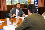Miguel Angel Gutierrez of Ciudadanos during the debate on agreements with representatives of the four major political forces at the headquarters of the newspaper La Razon . 19,06,2016. (ALTERPHOTOS/Rodrigo Jimenez)