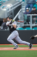 AJ Zarozny (5) of the Bryant Bulldogs follows through on his swing against the Coastal Carolina Chanticleers at Springs Brooks Stadium on March 13, 2015 in Charlotte, North Carolina.  The Chanticleers defeated the Bulldogs 7-2.  (Brian Westerholt/Four Seam Images)
