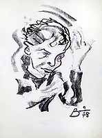 BNPS.co.uk (01202 558833)<br /> Pic: Julien'sAuctions/BNPS<br /> <br /> PICTURED: The original sketch.<br /> <br /> A remarkable self portrait by a tormented David Bowie has sold for £40,000.<br /> <br /> Bowie's charcoal sketch was based on the 1977 'Heroes' album cover, and was used on merchandising for his 1978 tour.<br /> <br /> The late icon produced the sketch early in 1978 while living in Cold War Berlin and trying to conquer his cocaine addiction.<br /> <br /> He has a dark, brooding expression with intense eyes and a hand in front of his face.<br /> <br /> Bowie's illustration was based on a candid photograph by Masayoshi Sukita which was used on the front cover to his seminal album Heroes.