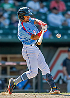 23 June 2019: New Hampshire Fisher Cats infielder Santiago Espinal in action during the 8th inning against the Trenton Thunder at Northeast Delta Dental Stadium in Manchester, NH. The Thunder defeated the Fisher Cats 5-2 in Eastern League play. Mandatory Credit: Ed Wolfstein Photo *** RAW (NEF) Image File Available ***
