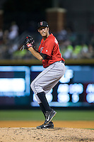 Indianapolis Indians relief pitcher John Holdzkom (52) in action against the Charlotte Knights at BB&T BallPark on June 20, 2015 in Charlotte, North Carolina.  The Knights defeated the Indians 6-5 in 12 innings.  (Brian Westerholt/Four Seam Images)