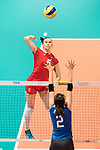 Wing spiker Iuliia Kutiukova of Russia spikes the ball during the FIVB Volleyball World Grand Prix match between Japan vs Russia on 23 July 2017 in Hong Kong, China. Photo by Marcio Rodrigo Machado / Power Sport Images