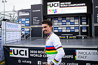 Picture by Alex Whitehead/SWpix.com - 24-27/09/2020 - Cycling - 2020 UCI Road World Championships - Imola, Emilia-Romagna, Italy - The Brief. Julian Alaphilippe - TISSOT - SHIMANO - MAPEI - SANTINI