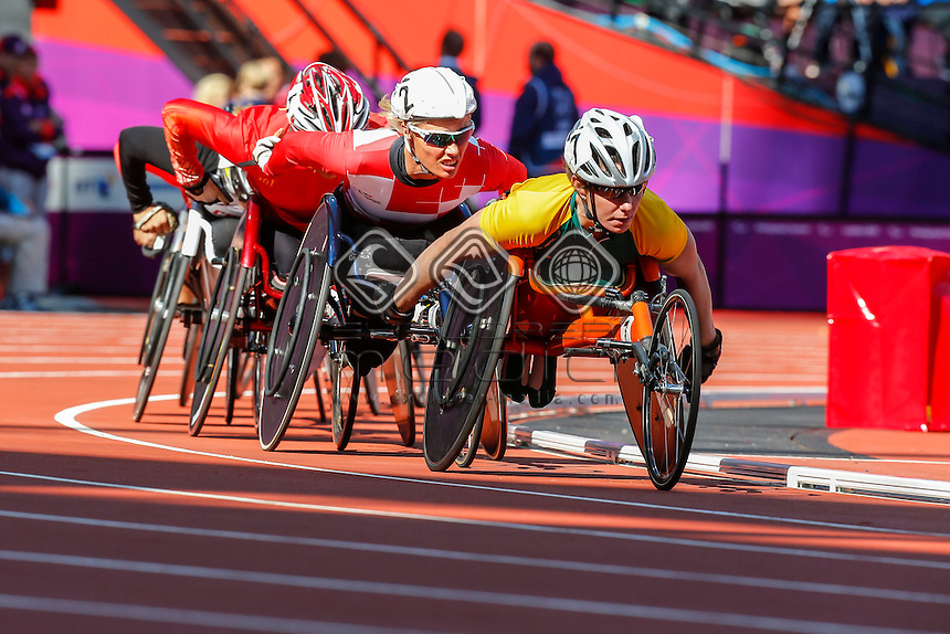 Christie Dawes (AUS) leading the group during the women's 5000m -T54 round1 event, Athletics (Friday 31st Aug) - Olympic Stadium,Paralympics - Summer / London 2012, London, England 29 Aug - 9 Sept , © Sport the library/Greg Smith