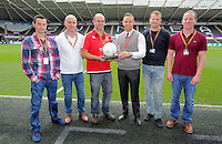 Matchball sponsors with Lee Trundle before the Premier League match between Swansea City and Manchester City at The Liberty Stadium in Swansea, Wales, UK. Saturday 24 September 2016