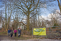 Lesley Griffiths AM, Minister for Enviroment, Energy and Rural Affairs at the National Forest launch during the Woodland Trust event high on the mountainside above Neath in South Wales this morning at the newly planted Coed Cadw woodland<br /> Re: National Forest launch at the Woodland Trust event high on the mountainside above Neath in South Wales this morning at the newly planted Coed Cadw woodland.