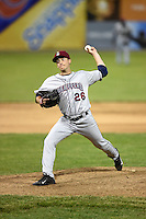 Mahoning Valley Scrappers pitcher David Speer (26) delivers a pitch during a game against the Batavia Muckdogs on June 20, 2014 at Dwyer Stadium in Batavia, New York.  Batavia defeated Mahoning Valley 7-4.  (Mike Janes/Four Seam Images)