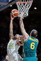 July 14, 2016: LORENZO BONAM (33) of the Utah Utes goes to the basket during game 2 of the Australian Boomers Farewell Series between the Australian Boomers and the American PAC-12 All-Stars at Hisense Arena in Melbourne, Australia. Sydney Low/AsteriskImages.com