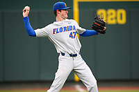 Florida Gators pitcher Tommy Mace (47) warms up prior to a game against the Tennessee Volunteers in Southeastern Conference play at Lindsey Nelson Stadium in Knoxville, Tennessee, on April 7, 2018. Florida beat Tennessee 22-6. (Danny Parker/Four Seam Images)