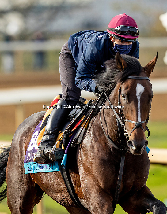 November 5, 2020: Battleground, trained by trainer Aidan P. O'Brien, exercises in preparation for the Breeders' Cup Juvenile Turf at  Keeneland Racetrack in Lexington, Kentucky on November 5, 2020. Alex Evers/Eclipse Sportswire/Breeders Cup