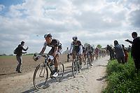 neo-pro and junior Roubaix winner Jasper Stuyven (BEL/Trek Factory Racing) pacing the pursuit on Boonen&co for team captain (and tripple Roubaix champion) Fabian Cancellara (CHE/TrekFactoryRacing) deep into the race<br /> <br /> Paris-Roubaix 2014