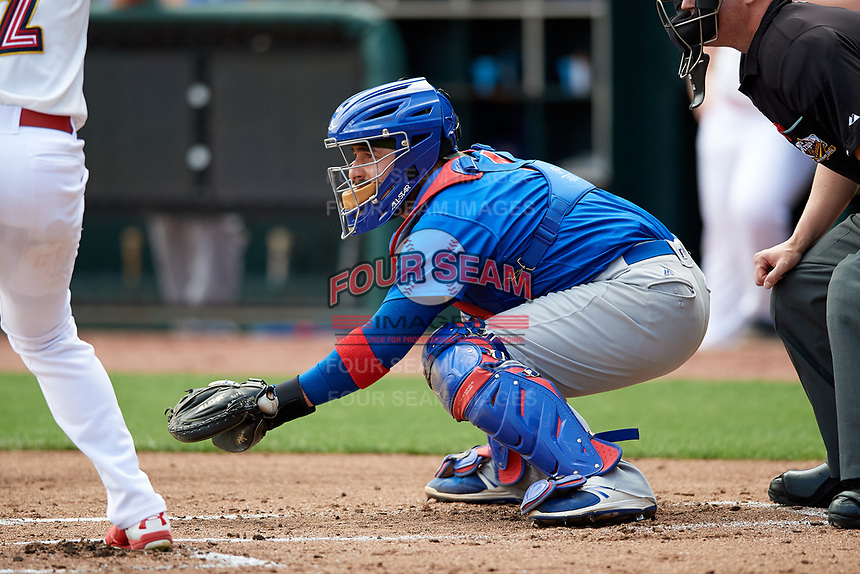 Iowa Cubs catcher Ali Solis (4) awaits the pitch during a game against the Memphis Redbirds on May 29, 2017 at AutoZone Park in Memphis, Tennessee.  Memphis defeated Iowa 6-5.  (Mike Janes/Four Seam Images)