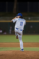 AZL Dodgers relief pitcher Riley Ottesen (11) delivers a pitch during an Arizona League game against the AZL Indians 2 at Goodyear Ballpark on July 12, 2018 in Goodyear, Arizona. The AZL Indians 2 defeated the AZL Dodgers 2-1. (Zachary Lucy/Four Seam Images)