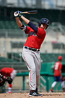 Boston Red Sox third baseman Triston Casas (19) takes a practice swing during a Florida Instructional League game against the Baltimore Orioles on September 21, 2018 at JetBlue Park in Fort Myers, Florida.  (Mike Janes/Four Seam Images)