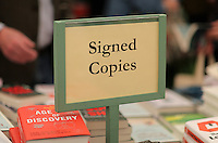 Pictured: A signed copies sign in the book store  Monday 30 May 2016<br /> Re: Hay Festival, Hay on Wye, Wales, UK