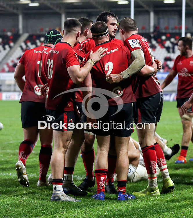 11 December 2020; Rob Herring scores Ulsters third try during the Heineken Champions Cup Pool B Round 1 match between Ulster and Toulouse at Kingspan Stadium in Belfast. Photo by John Dickson/Dicksondigital