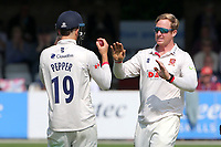 Simon Harmer of Essex celebrates taking the wicket of Ryan Higgins during Essex CCC vs Gloucestershire CCC, LV Insurance County Championship Division 2 Cricket at The Cloudfm County Ground on 5th September 2021