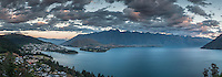 Queenstown city and Remarkables Mountains at sunset, Central Otago, New Zealand