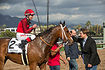 ARCADIA, CA  MARCH 24:#2 Itsinthepost, ridden by Tyler Baze, returns to the connections after winning the San  Luis Rey Stakes (Grade ll),  on March 24, 2018 at Santa Anita Park, in Arcadia, CA (Photo by Casey Phillips/ Eclipse Sportswire/ Getty Images)