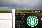 Holker Old Boys 2 Crook Town 1, 10/10/2020. Rakesmoor, FA Vase second round qualifying. A rainbow and home club logo visible during the second-half as Holker Old Boys take on Crook Town in an FA Vase second round qualifying tie at Rakesmoor, Barrow-in-Furness. The home club was established in 1936 as Holker Central Old Boys and was initially an under-16 team for former pupils of the Holker Central Secondary School. Holker from the North West Counties League beat their Northern League opponents 2-1, watched by a crowd of 147 spectators. Photo by Colin McPherson.