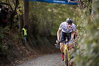 European Champion Toon Aerts (BEL/Telenet Fidea Lions) leading the race up the Koppenberg<br /> <br /> Elite Men's race<br /> Koppenbergcross / Belgium 2017