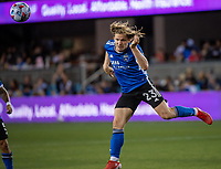 SAN JOSE, CA - JULY 24: Florian Jungwirth #23 of the San Jose Earthquakes heads the ball during a game between San Jose Earthquakes and Houston Dynamo at PayPal Park on July 24, 2021 in San Jose, California.