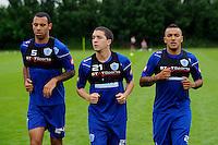 Danny Simpson, Hogan Ephraim and Anton Ferdinand of QPR in training