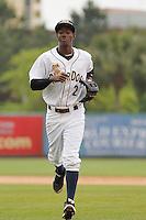 Charleston RiverDogs shortstop Jorge Mateo (2) during a game against the Augusta GreenJackets at Joseph P.Riley Jr. Ballpark on April 15, 2015 in Charleston, South Carolina. Charleston defeated Augusta 8-0. (Robert Gurganus/Four Seam Images)