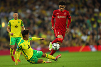 21st September 2021; Carrow Road, Norwich, England; EFL Cup Footballl Norwich City versus Liverpool; Dimitris Giannoulis of Norwich City challenges Curtis Jones of Liverpool