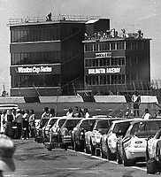Cars lined up for the Transouth 500 at Darlington Raceway in Darlington, SC on March 20, 1988. (Photo by Brian Cleary/www.bcpix.com)