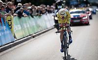 yellow jersey / GC leader Dylan Theuns (BEL/Bahrein-Merida)<br /> <br /> Stage 4 (ITT): Roanne to Roanne (26.1km)<br /> 71st Critérium du Dauphiné 2019 (2.UWT)<br /> <br /> ©kramon