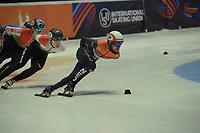 SPEEDSKATING: DORDRECHT: 05-03-2021, ISU World Short Track Speedskating Championships, Heats 1000m Men, Sjinkie Knegt (NED), Shaoang Liu (HUN), ©photo Martin de Jong