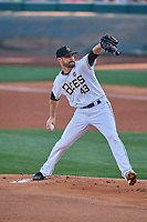 Salt Lake Bees starting pitcher Nick Tropeano (43) throws to the plate during the game against the El Paso Chihuahuas at Smith's Ballpark on August 17, 2019 in Salt Lake City, Utah. The Bees defeated the Chihuahuas 5-4. (Stephen Smith/Four Seam Images)