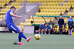 16.08.2020 Livingston v Rangers: Borna Barisic fires in a free kick which Maksymilian Stryjek turns onto the post and away to safety
