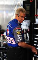 Oct. 31, 2008; Las Vegas, NV, USA: NHRA top fuel dragster crew chief Lee Beard during qualifying for the Las Vegas Nationals at The Strip in Las Vegas. Mandatory Credit: Mark J. Rebilas-