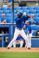 Dunedin Blue Jays center fielder D.J. Davis (6) at bat during a game against the Bradenton Marauders on July 17, 2017 at Florida Auto Exchange Stadium in Dunedin, Florida.  Bradenton defeated Dunedin 7-5.  (Mike Janes/Four Seam Images)